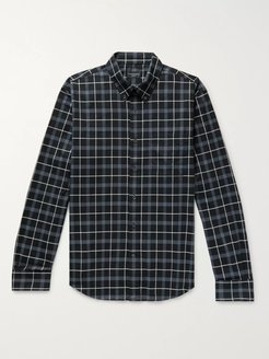 Slim-Fit Button-Down Collar Checked Cotton Shirt - Men - Black