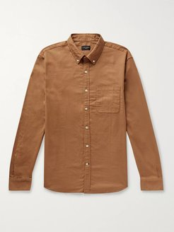 Slim-Fit Button-Down Collar Cotton-Flannel Shirt - Men - Brown
