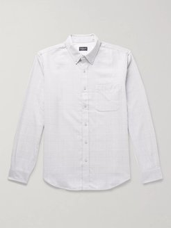 Slim-Fit Button-Down Collar Prince of Wales Checked Cotton Shirt - Men - White