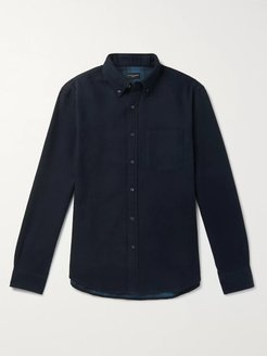 Button-Down Collar Double-Faced Cotton-Flannel Shirt - Men - Blue