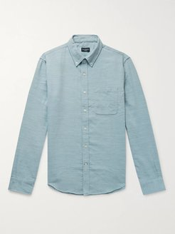 Slim-Fit Button-Down Collar Slub Woven Shirt - Men - Blue