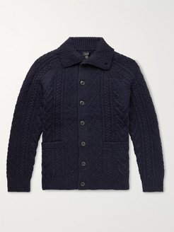 Cable-Knit Donegal Merino Wool-Blend Cardigan - Men - Blue