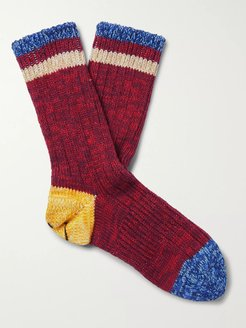 Smiley Cotton and Hemp-Blend Socks - Men - Red
