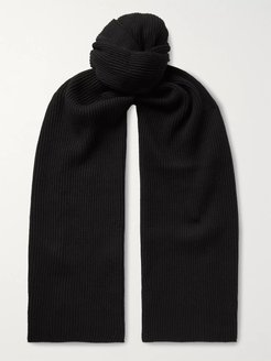1x1 Ribbed Cotton and Cashmere-Blend Scarf - Men - Black