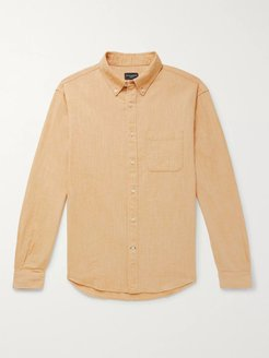 Button-Down Collar Textured Cotton and Linen-Blend Shirt - Men - Yellow