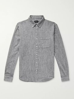 Button-Down Collar Textured Cotton and Linen-Blend Shirt - Men - Gray