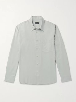 Tencel and Cotton-Blend Twill Shirt - Men - Blue