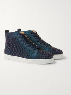 Louis Orlato Spikes Iridescent Leather High-Top Sneakers - Men - Blue