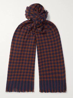 Beaufort Fringed Checked Wool and Cashmere-Blend Scarf - Men - Blue