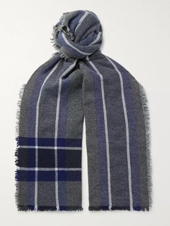 Beaufort Fringed Checked Wool and Cashmere-Blend Scarf - Men - Gray