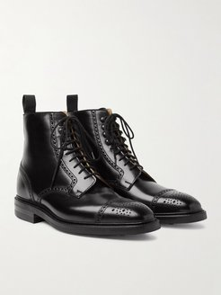 Toby Polished-Leather Brogue Boots - Men - Black