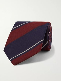 Striped Wool and Cotton-Blend Twill Tie - Men - Blue