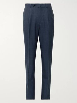 Slim-Fit Pleated Prince of Wales Checked Wool Suit Trousers - Men - Blue