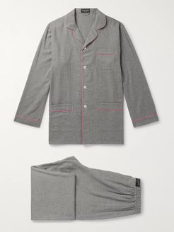 Contrast-Tipped Puppytooth Brushed-Cotton Pyjama Set - Men - Gray