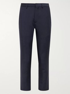Navy Slim-Fit Cropped Wool and Mohair-Blend Trousers - Men - Blue