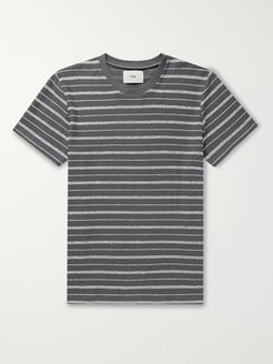 Striped Cotton-Blend T-Shirt - Men - Gray