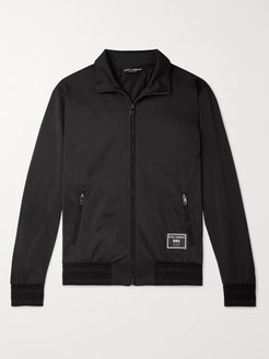 Slim-Fit Logo-Appliquéd Satin-Jersey Track Jacket - Men - Black