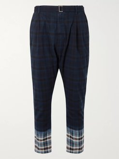 Belted Pleated Checked Madras Cotton Trousers - Men - Blue