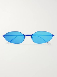 Oval-Frame Metal Mirrored Sunglasses - Men - Blue