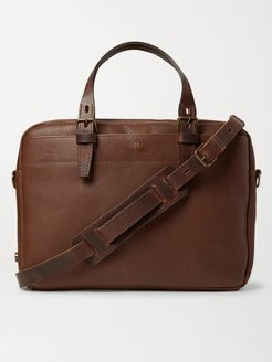 Folder Vegetable-Tanned Textured-Leather Messenger Bag - Men - Brown
