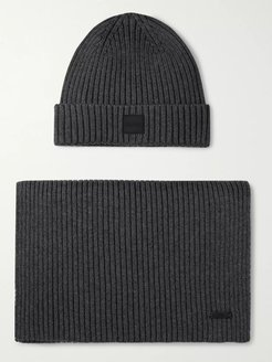 Ribbed Wool and Cotton-Blend Beanie and Scarf Set - Men - Gray