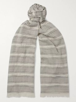 Striped Cashmere, Silk and Cotton-Blend Scarf - Men - Gray