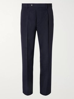 Navy Slim-Fit Tapered Pleated Wool and Linen-Blend Trousers - Men - Blue