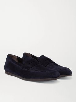 Suede Penny Loafers - Men - Blue