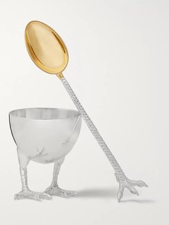 Sterling Silver Egg Cup and Spoon Set - Men - Silver