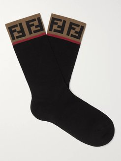Logo-Intarsia Stretch Cotton-Blend Socks - Men - Black