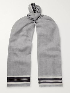 Fringed Striped Merino Wool, Cashmere and Silk-Blend Scarf - Men - Gray