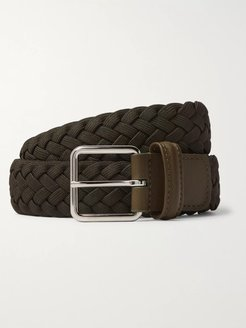 3.5 Army-Green Leather-Trimmed Woven Elastic Belt - Men - Green