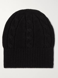Cable-Knit Wool Beanie - Men - Black