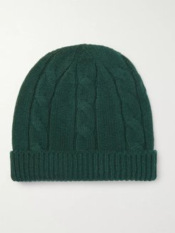 Cable-Knit Wool Beanie - Men - Green