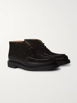 Jacques Leather-Trimmed Suede Desert Boots - Men - Black
