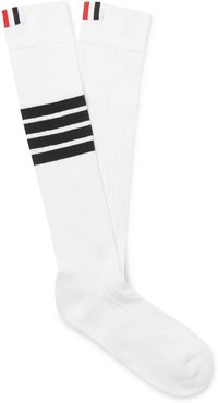 Striped Cotton Over-The-Calf Socks - Men - White