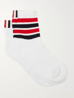 Striped Cotton Socks - Men - White