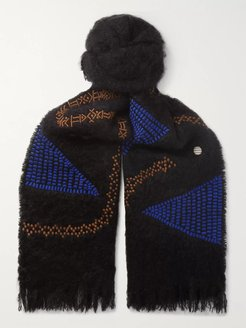 Embroidered Mohair Scarf - Men - Black