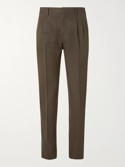 Newton Slim-Fit Pleated Herringbone Cotton and Linen Blend Trousers - Men - Green