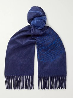 Embroidered Cashmere Scarf - Men - Blue