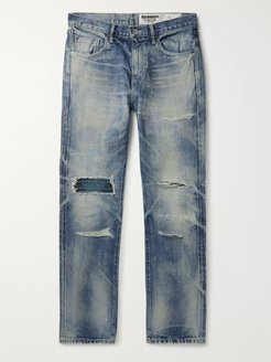 Claw Mod Savage Slim-Fit Distressed Embroidered Denim Jeans - Men - Blue