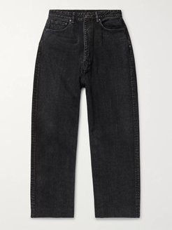 Wide-Leg Denim Jeans - Men - Black