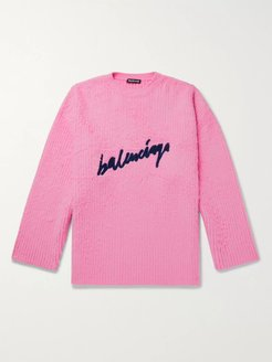 Oversized Logo-Embroidered Brushed Cotton-Blend Sweater - Men - Pink