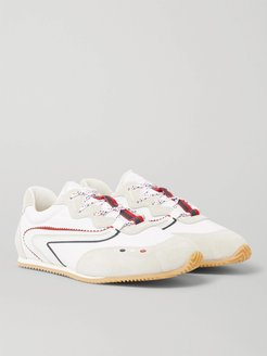 2 Moncler 1952 Leather-Trimmed Canvas and Suede Sneakers - Men - White