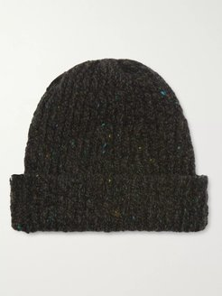 Ribbed Donegal Merino Wool and Cashmere-Blend Beanie - Men - Green