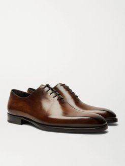 Alessandro Capri Leather Whole-Cut Oxford Shoes - Men - Brown