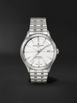 Clifton Baumatic Automatic Chronometer 40mm Stainless Steel Watch, Ref. No. M0A10505 - Men - White