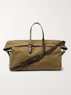 Cabine Leather-Trimmed Stonewashed Cotton-Canvas Holdall - Men - Green