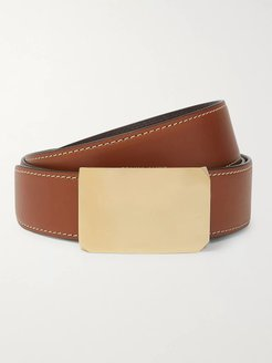 4cm Brown and Tan Milton Reversible Leather Belt - Men - Brown