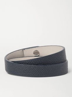Pebble-Grain Leather Wrap Bracelet - Men - Blue